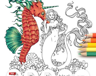 Adult Coloring Page Fantasy Mermaid Seahorse Line Art