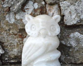 Hand Carved Alabaster Owl Ornament. Rustic Vintage Owl Paperweight Desk Accessory. White Stone Owl Gift Idea