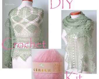 DIY Crochet Kit, Crochet shawl kit, MISITU, PINK, yarn and pattern