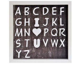 The I Love You ABC - Personalised White Shadow Box Frame - Baby Nursery Frame