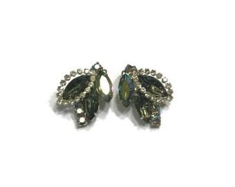 Blue Green Rhinestone Earrings, Aurora Borealist Rhinestone Earrings, Vintage Clip Earrings, Costume Jewelry
