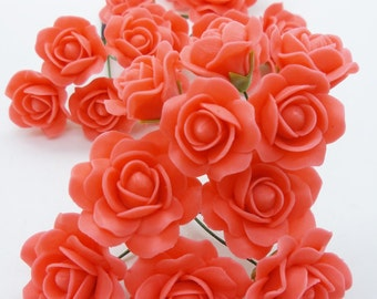 12 Miniature Roses Handcrafted Polymer Clay Flowers for Dollhouse and Jewelry Beads