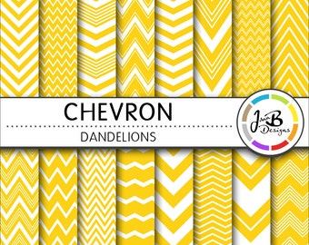 Chevron Digital Paper, Dandelions, Yellow, White, Chevron, Zig Zag, Digital Paper, Digital Download, Scrapbook Paper, Digital Paper Pack