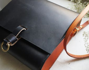 Large cross body leather bag, black purse, miniature satchel, small messenger bag, black cross body pouch, Hand sewn bag.  Made in UK