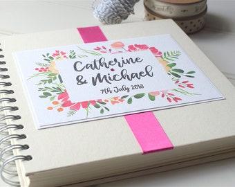 Floral Frame Wedding Guest Book, Handmade & Personalised Guestbook, Rustic Guestbook, Botanical Design