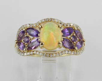 Yellow Gold Amethyst Opal Diamond Engagement Ring Size 7 Unique October Band