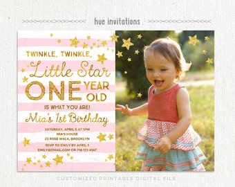 twinkle twinkle little star first birthday invitation for girl with photo, pink gold glitter birthday party invitation, printable file