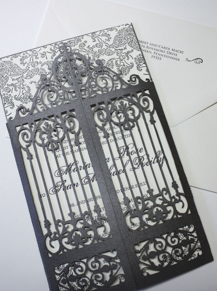 Laser cut scrollwork gatefold Old Philly
