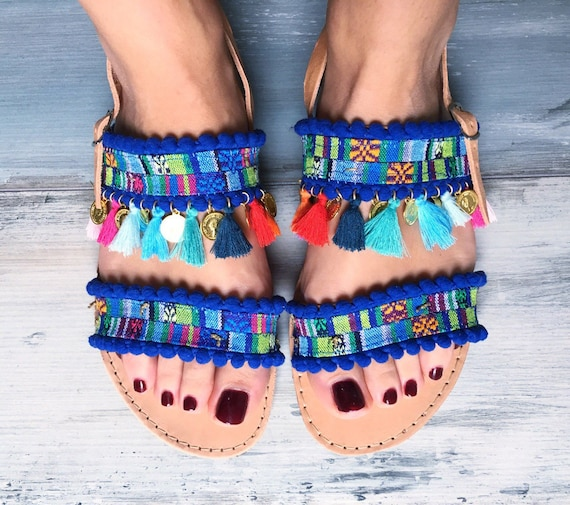 Boho Handmade hippie blue gladiator sandals Sandals sandals sandals Greek sandals sandals colorful