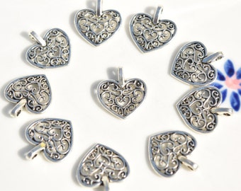 10 Heart Charms - Silver Filigree Heart Charm - Heart Earring Charms - Heart Pendant - Silver Heart Charm - Valentine's Day Charms - SC28