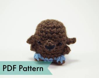 "PDF Pattern for Crocheted Werewolf Amigurumi Kawaii Keychain Miniature Doll ""Pod People"""