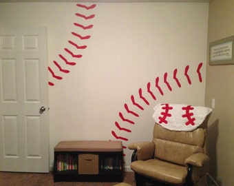 Charming Baseball Stitches Wall Decal Red Removable 2083