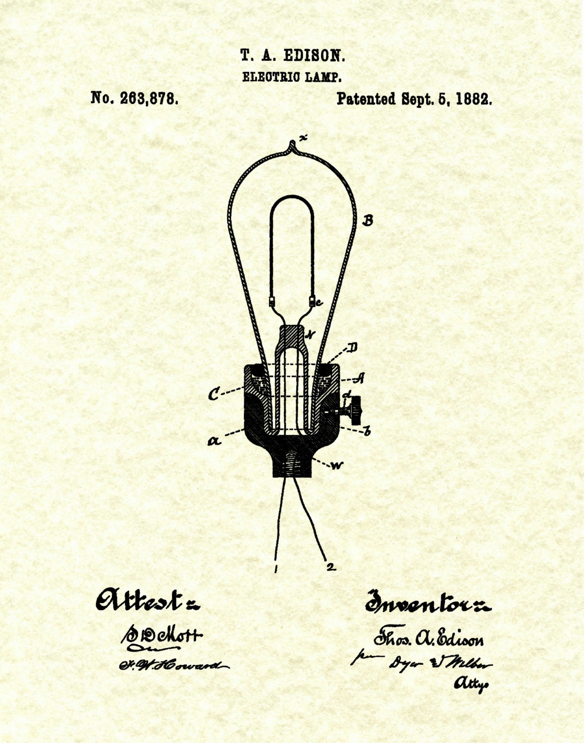 Patent 1882 Edison Electric Light Bulb - Electric Lamp Patent Art ... for Thomas Edison Light Bulb Blueprints  589ifm