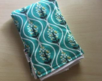 Aqua Flowers Burp Cloth