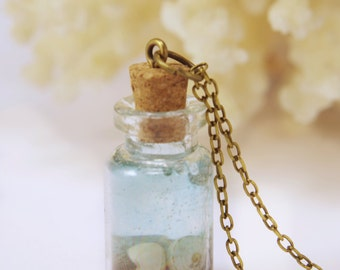 Miniature ocean necklace Shell necklace Ocean in a Bottle necklace  Sea bottle Glass Bottle Necklace  Natural Necklace Nautical Jewelry Gift