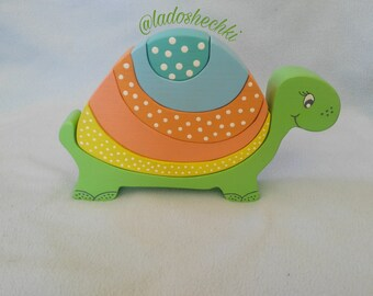 Wooden puzzle turtle - wooden toys - turtle balancer - wooden pyramid - children's gift - montessori - educational toys Waldorf - 3d puzzle