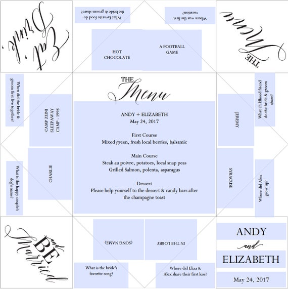Printable Wedding Program/Menu/Favor Cootie Catcher/Fortune