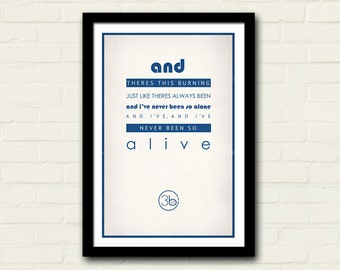 Third Eye Blind Lyrics 11 X 17 Motorcycle Drive By Lyrics, Art Poster Print, Band Poster, Blue, Home Decor