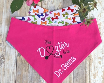 Personalized Therapy Dog Bandana - Reversible The Dogtor Is In - Pink Bandana Pet Scarf - Best Custom Puppy Dog Gifts by Three Spoiled Dogs