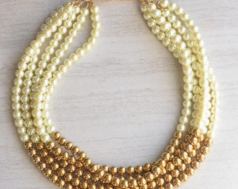 Michelle - Ivory Pearl Necklace Gold Statement Necklace Color Block Necklace Bridesmaid Necklace