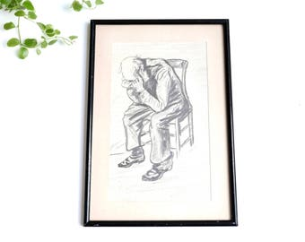 French charcoal drawing, sad men, 1930s / black and white, curiosity, nostalgic, sadness, old age, melancholy, shabby chic, cottage