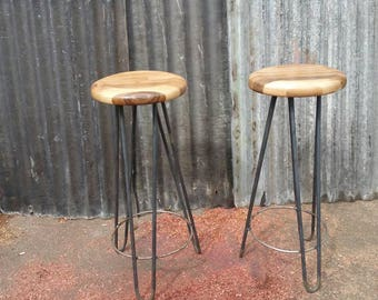 Industrial hairpin leg stools with turned American walnut seat