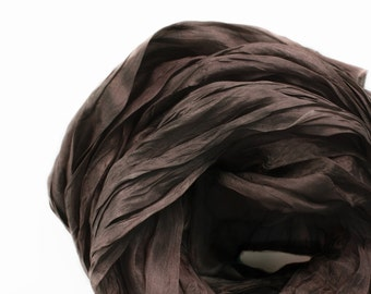 Chocolate Brown Silk Scarf, Hand Dyed Winter Neutrals, Lightweight Shawl Wrap, Womens Mens, Travel, Evening Shawl, 2 sizes, Dark Brown Scarf