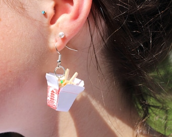 noodle earrings chinese take out earrings chinese take away food chow mein noodle earrings miniature food jewellery thai tiny noodle food
