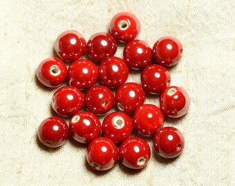 100pc - beads ceramic porcelain round 12mm bright red iridescent