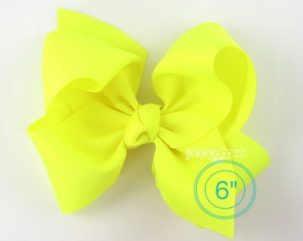 """Extra Large Hair Bow, Neon Yellow Hair Bow, 6"""" 6 inch hair bows, big bow, giant bow, extra large bow, jumbo hair bows, hair bows for girls"""