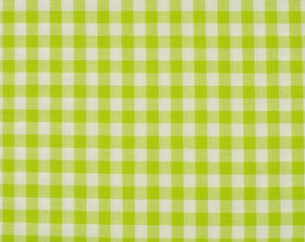 Lime green gingham (lime) 5mm 100% cotton fabric