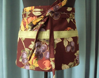Vendors Apron--Brown with grapes and pomegranets