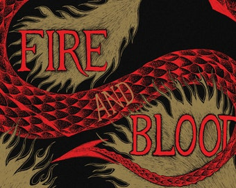 Fire and Blood- Game of Thrones-inspired House Targaryen A4 art print- dragon- FREE WORLDWIDE SHIPPING