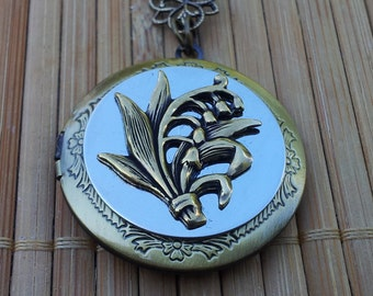 In Australia - Lily Of The Valley - Vintage Round Brass Locket - for mother, sister, wife, girlfriend, friend