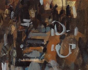Original Abstract Painting Modern Earth Tone - 5x7 by David Lloyd