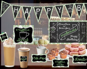Coffee Shop Theme Digital Printable Birthday Set - Chalkboard - Personalized - Party - Celebration - Banner - Girls - Teens