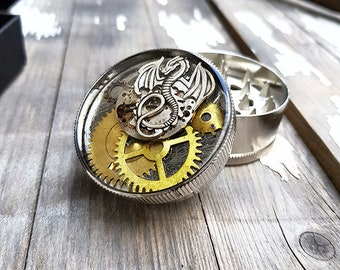Metal Herb Grinder - Steampunk Silver Dragon Spice Crusher -Fine Herbs Tobacco Spices Weed grinder- Amazing pocket size gift  4:20 girl boy