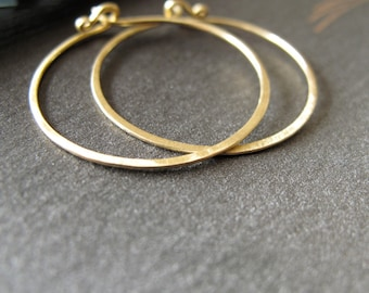 14k Solid Gold Hoop earrings 1 inch round hammered endless hoops matte gold