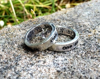 RING SET - Custom Solid Sterling Silver Thick Hand Stamped Rings Couples Rings His and Hers Ring Set Choice of Font Your Message Band Bands