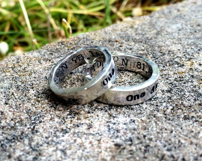 RING SET - Custom Solid Sterling Silver Thick Hand Stamped Rings - Couples Rings - His and Hers Ring Set - Choice of Font - Your Message
