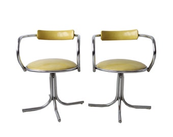 Pair of Vintage Lime Green and Chrome Arm Chairs