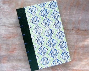 Journal Sketchbook 1974 Vintage Blue and Green Readers Digest, Green Pages, Ready to Ship