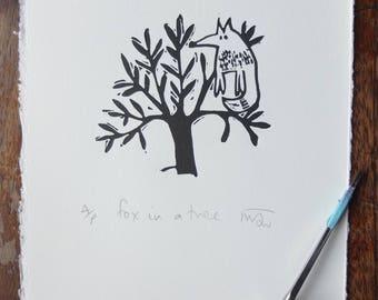 Fox in a Tree - lino print