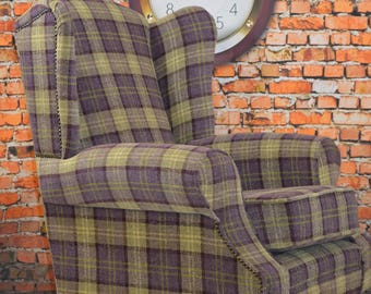 Queen Anne Wing Back Cottage Fireside Chair in Plum Purple Lana Tartan Check