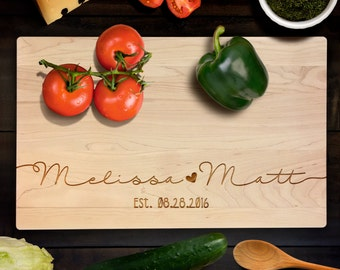 Handwritten Couple's Name with Customized Name and Date Wedding Cutting Board Housewarming, Anniversary Gift Laser Engraved CB00061