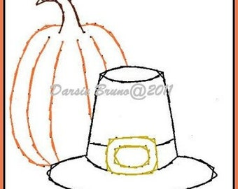 Pilgrim Harvest Thanksgiving Embroidery Pattern for Greeting Cards