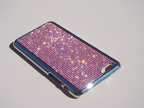 "iPhone 6 / 6s 4.7"" Pink Diamond Rhinestone Crystals on Silver Chrome Case. Velvet/Silk Pouch Bag Included, Genuine Rangsee Crystal Cases."
