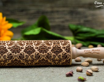 Damask Engraved rolling pin. Embossed rolling pin. Embossing rolling pin. Damask pattern.Mothers day gift. Gift for mom. Gift for women.