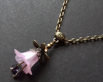 Purple Flower Necklace , Bronze Purple Necklace , Bronze Necklace , Lucite Flower , Handmade Jewelry , Handmade Jewellery , Boho , Gift