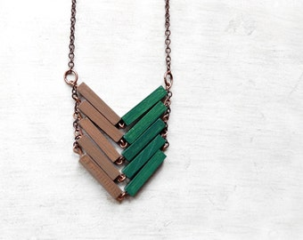 Wood Geometric Necklace // BRAZIL // Minimal Jewelry // Green // Beige / Brown / Hand-Painted Necklace / Modern Necklaces / Chevron Necklace